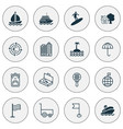 travel icons set with motor ship buildings vector image