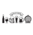 vintage set craft beer objects bottle glasses vector image vector image