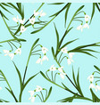 white snowdrop flower on light blue background vector image vector image