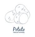 whole and half potato vegetable cartoon vector image
