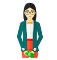Woman handcuffed for crime vector image vector image