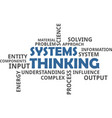 word cloud - systems thinking vector image vector image