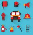 Fireman Set of firefighting equipment vector image
