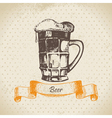 Oktoberfest vintage background with beer vector image