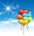 collection glossy colorful hearts balloons for vector image