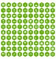 100 star icons hexagon green vector image vector image