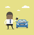 african businessman holding a key of a new car vector image vector image