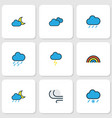 air icons colored line set with raindrop nimbus vector image vector image