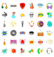 audio icons set cartoon style vector image vector image