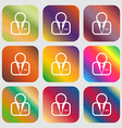 Avatar icon Nine buttons with bright gradients for vector image vector image
