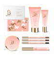b letter butterfly pink cosmetic identity mockup vector image