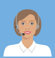beautiful woman with headset vector image vector image