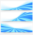 Blue stream swoosh header footer web set vector image vector image