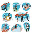 business team development and achievement vector image