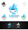 car wash logo with car silhouette and water vector image vector image