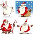 Cartoon Christmas Santa Clauses Set vector image vector image