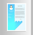 cartoon feminine resume with infographics on a vector image vector image