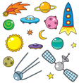 cartoon space objects vector image vector image
