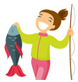 caucasian white fisherwoman holding fish vector image vector image