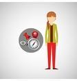 character girl navigation elements concept vector image