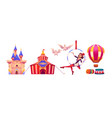 circus stuff and artist big top tent air gymnast vector image