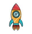 colored crayon silhouette of space rocket with two vector image vector image