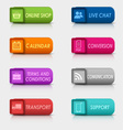 Colored set rectangular square web buttons vector image vector image