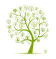 Concept from art trees green for your design vector image