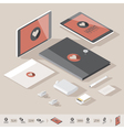 Corporate identity isometric mock-up template vector image vector image
