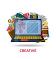 creation of creative content for the web site vector image vector image