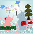 cute rhinoceros celebrated new year and merry vector image
