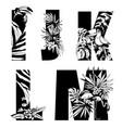 decorative set tropical pattern letters alphabet vector image vector image