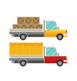 delivery truck with wooden boxes and truck with vector image