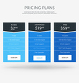 Design Template for Pricing Table in Flat Design vector image vector image