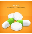 Different pills on yellow vector image