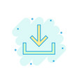 download file icon in comic style arrow down vector image vector image
