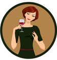 girl drinking white wine vector image vector image
