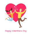 happy valentines day poster lovers merrily jumping vector image vector image