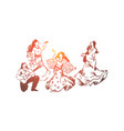 happy young dancers in dresses vector image