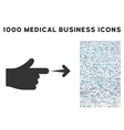Index Hand Icon with 1000 Medical Business Symbols vector image vector image
