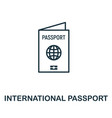 international passport outline icon thin line vector image vector image