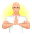 Man greeting namaste vector image