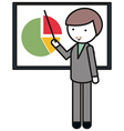 Man pointing at pie chart vector image
