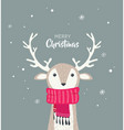 merry christmas card with cute dear wearing vector image