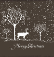 merry christmas with deer poster vector image vector image