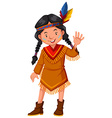 Native american indian girl waving hello vector image vector image