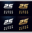 numbers silver and golden metal chrome alphabet vector image vector image
