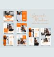 orange fashion social media promotion design vector image vector image