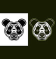 panda head in two styles monochrome on white vector image vector image
