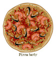 pizza with shrimp and vegetables vector image